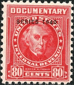 Roger Taney appears on a 1940 U.S. revenue stamp