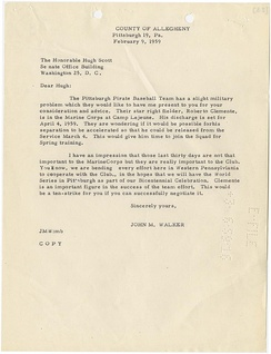 Letter from State Senator John M. Walker to U.S. Senator Hugh Scott requesting an early release for Roberto Clemente from the Marine Corps for the 1959 season