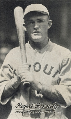 Rogers Hornsby played for the St. Louis Cardinals 1915–1926 & 1933 and with the Chicago Cubs 1929–1932. Hornsby owns the single season record for both franchises in hits and runs.