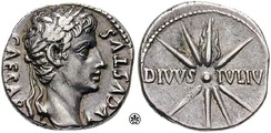 An Augustus denarius, stating CAESAR AVGVSTVS; and on the reverse: DIVVSIVLIV(S), which the population at large took to mean Son of God[63][64]