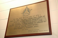 The plaque of the Young-Crippen Firing Room in the Launch Control Center at Kennedy Space Center.