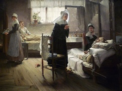 "Samuel Richards's painting ""Evangeline Discovering Her Affianced in the Hospital"""