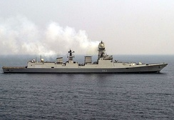 A Kolkata-class guided missile destroyer of the Indian Navy.