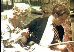 Frame from a surviving fragment of The Gulf Between (1917), the first publicly shown Technicolor film