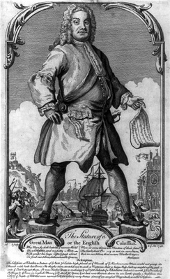 1740 political cartoon depicting a towering Walpole as the Colossus of Rhodes.