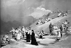 An illuminated composite photograph of a tobogganing party on the grounds of Rideau Hall, c. 1872–75