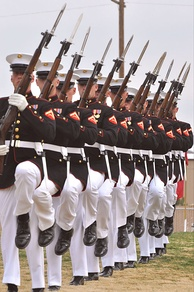 U.S. Marine Corps Silent Drill Team with M1 rifles