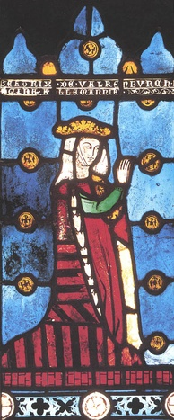 Beatrice of Falkenburg, Richard's 3rd wife, shown as Queen of the Romans in a 13th-century depiction