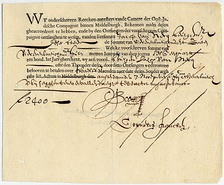 A bond from the Dutch East India Company (VOC), dating from 7 November 1623. The VOC was the first company in history to widely issue bonds and shares of stock to the general public.