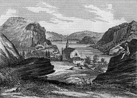 View of Harpers Ferry from Jefferson Rock in 1854