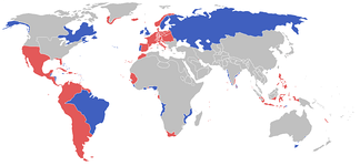 All the participants of the War of the Sixth Coalition. Blue: The Coalition and their colonies and allies. Red: The First French Empire, its protectorates, colonies and allies in January 1813.