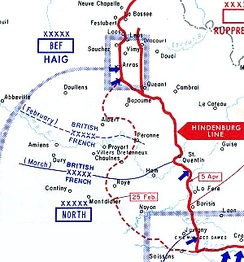 German withdrawal from the Bapaume and Noyon Salients.