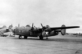 Heavily armed Consolidated XB-41 Liberator gunship prototype. Note the chin and twin dorsal turrets.