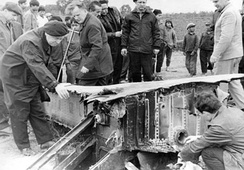 Soviet specialists inspect the wreckage of the B-52 Stratofortress shot down near Hanoi on 23 December 1972