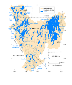 Map of Pleistocene lakes in the Great Basin of western North America [drawn by J. Havens, U.S. Geological Survey, modified from figure 2 of Morrison, 1991 (Geological Society of America, Volume K-2, Quaternary Nonglacial Geology: Conterminous U.S.); first released by Reheis, M.C., and Bright, J., in 2009 on a now-defunct U.S.G.S. website; further modified by J. Havens in 2019].