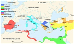 Map of the Mediterranean in 218 BC