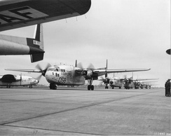 465th Troop Carrier Group Fairchild C-119G Flying Boxcars taxiing at Évreux-Fauville Air Base, France, 1956
