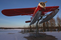 "A Mk.V ""CF–BHS"" originally registered to Lamb Airways in 1945, on a display stand in Thompson, Manitoba since 2008"
