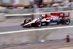 Ligier used a turbo engine for the first time in 1984. Andrea de Cesaris drives the JS23 chassis at that year's Dallas Grand Prix.