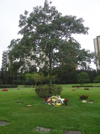 "Ayrton Senna's resting place at the Morumbi cemetery in São Paulo, with an inscription in Portuguese that reads ""Nothing can separate me from the love of God"""