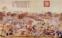 The massacre of Oroi-Jalatu, 1756. Manchu general Zhao Hui attacked the Dzungars at night in present Wusu.