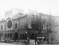 A ruined synagogue in Munich after Kristallnacht