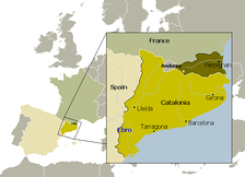 Map of Catalonia, showing the partition of its territory by means of the Treaty of the Pyrenees.