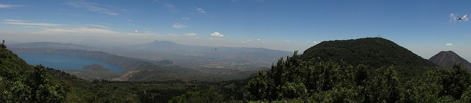 Panoramic of Coatepeque Caldera, Cerro Verde and Izalco (volcano)