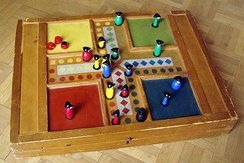 Parcheesi is an American adaptation of a Pachisi, originating in India.