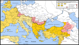 Map showing Constantine I's conquests of areas of present-day eastern Hungary, western Romania and northern Serbia, in the first decades of the 4th century (pink color).
