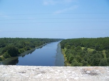 One of the two completed sections of the Barge Canal, looking west from the SR 19 bridge south of Palatka