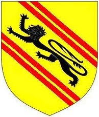 Arms of de Tracy: Or, a lion passant sable between two bends gemelles gules