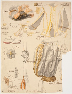 Details of the vestments of the Knights of the Dannebrog. Ca. 1750.