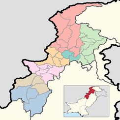A map of the districts of Khyber Pakhtunkhwa. Colors correspond to divisions.