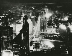 Chicago skyline on the night of August 11, 1956 (two days before the opening session of the convention)