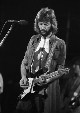 "Eric Clapton playing his signature custom made ""Blackie""  Fender Stratocaster"