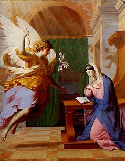 The Annunciation by Eustache Le Sueur, an example of 17th-century Marian art. The Angel Gabriel announces to Mary her pregnancy with Jesus and offers her White Lilies.