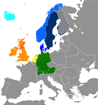 The present-day distribution of the Germanic languages in Europe: North Germanic languages   Icelandic   Faroese   Norwegian (partially national boundaries)   Swedish (partially national boundaries)   Danish (partially national boundaries) West Germanic languages   Scots   English   Frisian   Dutch (partially national boundaries)   Low German (partially national boundaries)   German Dots indicate a few of the areas where multilingualism is common.