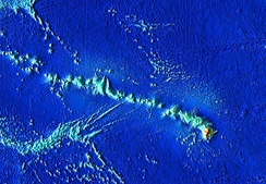 The Hawaiian-Emperor seamount chain, zoomed in on the current habitable islands