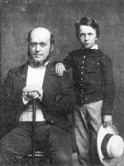 Henry James, age 11, with his father, Henry James Sr.—1854 daguerreotype by Mathew Brady