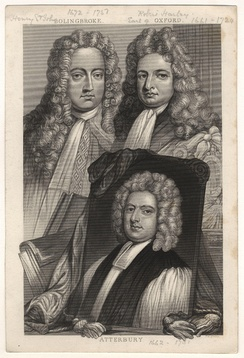 Oxford (right), together with his friend and ally Henry St John, 1st Viscount Bolingbroke and a portrait of Francis Atterbury. Engraving after a painting by Sir Godfrey Kneller.