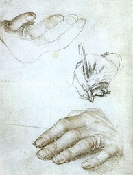Holbein's studies of Erasmus's hands, in silverpoint and chalks, ca. 1523. (Louvre)