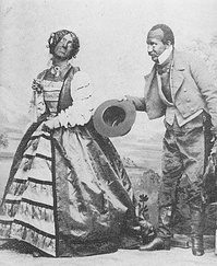 Minstrel show performers Rollin Howard (in female costume) and George Griffin, c. 1855.