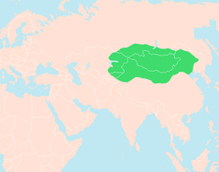 Domain and influence of Xiongnu under Modu Chanyu around 205 BC, the believed place of Huns' origin.