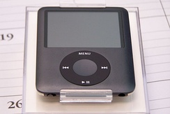 A black 8 GB 3rd generation iPod Nano.