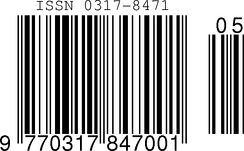 ISSN encoded in an EAN-13 barcode with sequence variant 0 and issue number 5