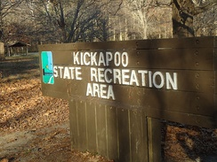 Entrance sign to Kickapoo State Recreation Area