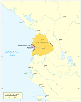 Kingdom of Albania in 1368 AD before being captured by Karl Thopia. Even before the city of Durrës was captured, it was landlocked by his principality. Declaring himself as Angevin descendant, with the capture of Durrës in 1368 Karl Thopia created the Princedom of Albania