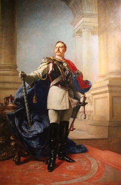 Portrait by Max Koner (1890)  Wilhelm wears the collar and mantle of the Prussian Order of the Black Eagle and, at his throat, the Protector's diamond-studded cross of the Order of Saint John (Bailiwick of Brandenburg)