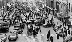 Traffic moves from left to right in Stockholm, Sweden, on 3 September 1967